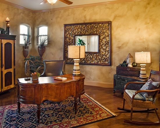Mediterranean Home Office With Wood Desk Ad Wooden Rocking Chairs And Antique Side T...
