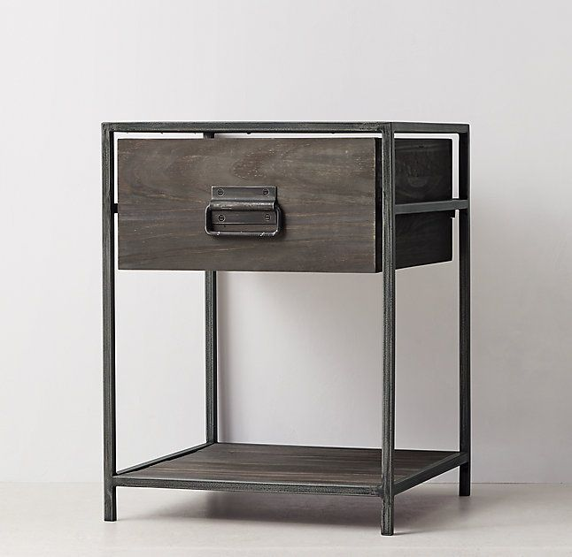 RH TEEN's Wexler Nightstand:Our collection's minimalist metal frame fitted with warm wood panels replicates the functional simplicity of vintage warehouse bins. Industrial bail pulls and framed label holders lend additional character.