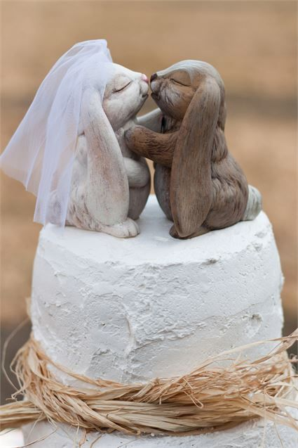 Rustic wedding cake topped with a kissing bunny cake topper.