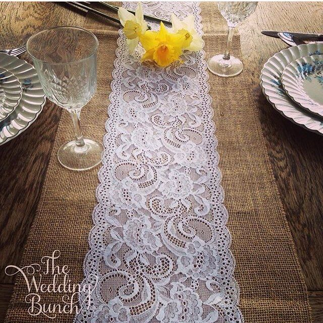 Hessian runners with lace!  Available in white or black & we make them the exact length you need