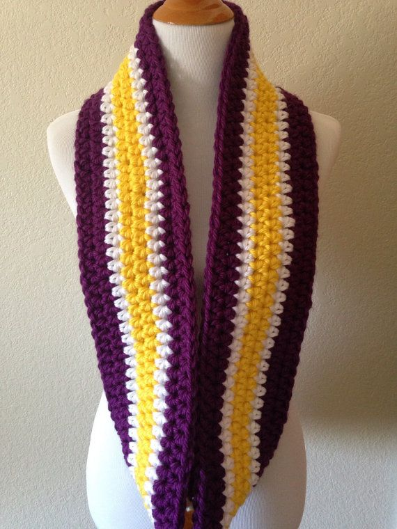 Crochet Scarf Pattern Vertical Stripes : Purple, White and Yellow Striped Infinity Scarf, Crocheted ...
