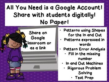 Exploring Number Patterns In/Out TEKS 4.5B Google Classroo