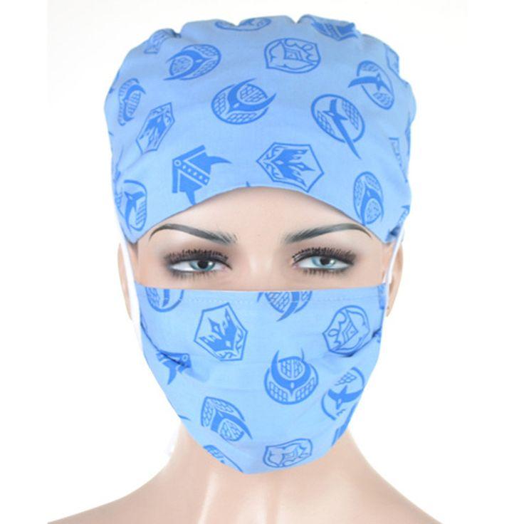 Lab Doctor Nurse Scrub Medical Caps 100% cotton adjustable medical scrub cap long hair women Swallow (light blue) Meitian