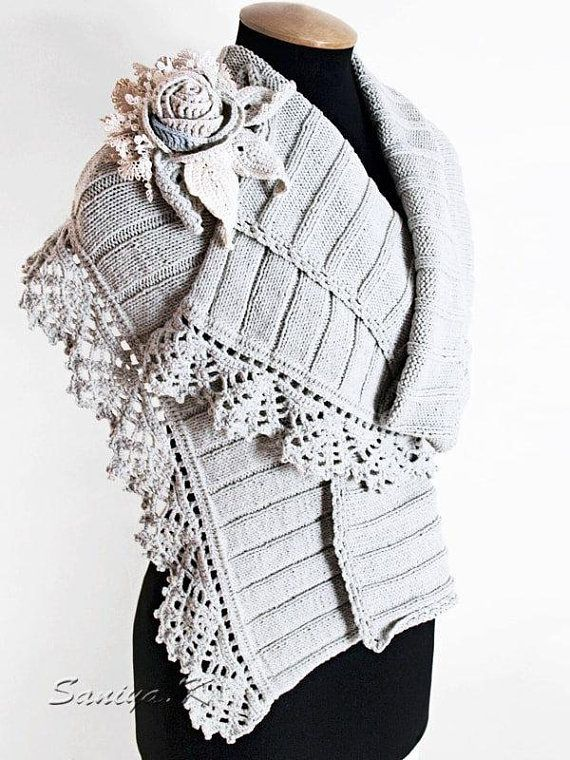 Boho Shawl Boho chic Shawl First Snow crocheted | Pretty Crochet ...