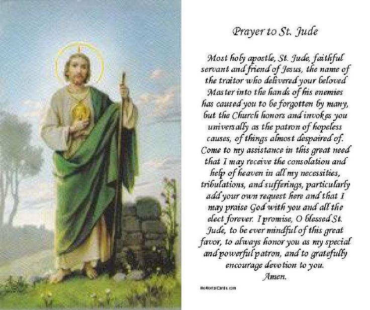 Saint Jude Prayer Memorial And Funeral Cards Pre