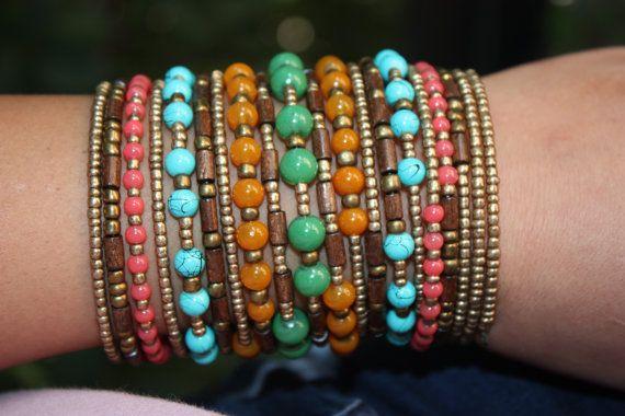 20 Wrap Bohemian Memory Wire Bracelet by MonroeJewelry on Etsy