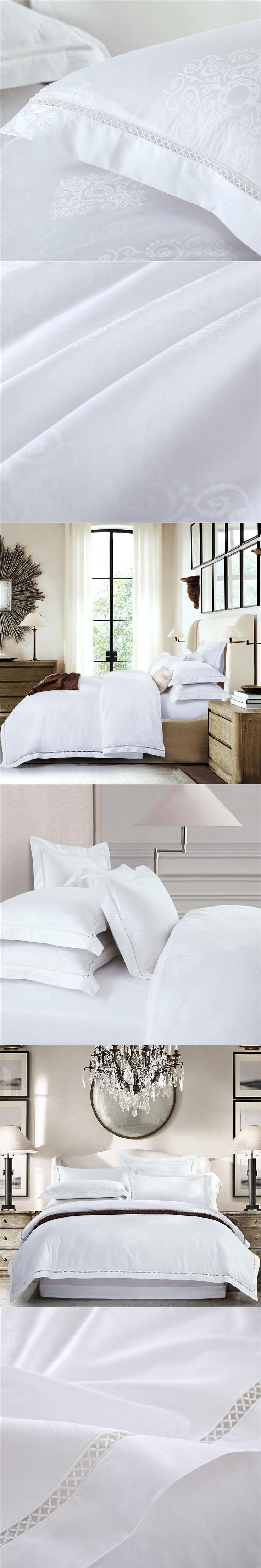 pure white egyptian cotton satin jacquard bedding set king queen size luxury hotel 4pcs bedsheet flat