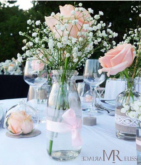 Centre de table chic et léger rose et gypsophile