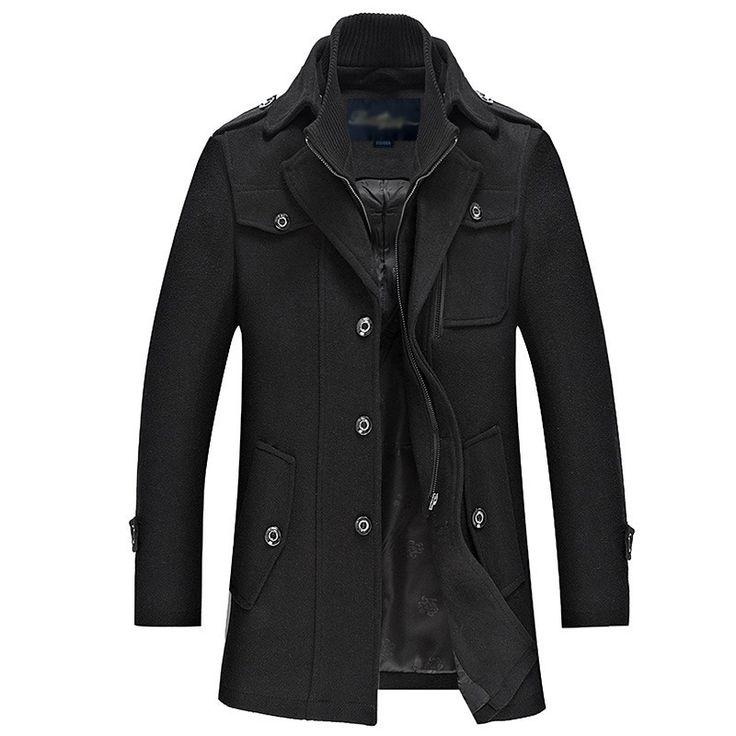 2015 новая зимняя шерсть пальто мужчины мода мужская гороха пальто манто Homme однобортный шерсти и смеси мужское пальто купить на AliExpress