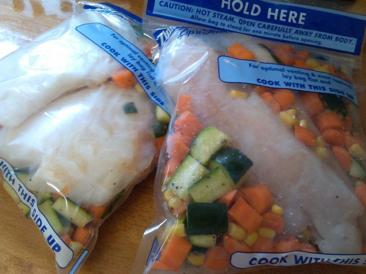 healthy make-ahead frozen seafood meals using microwave steamer bags