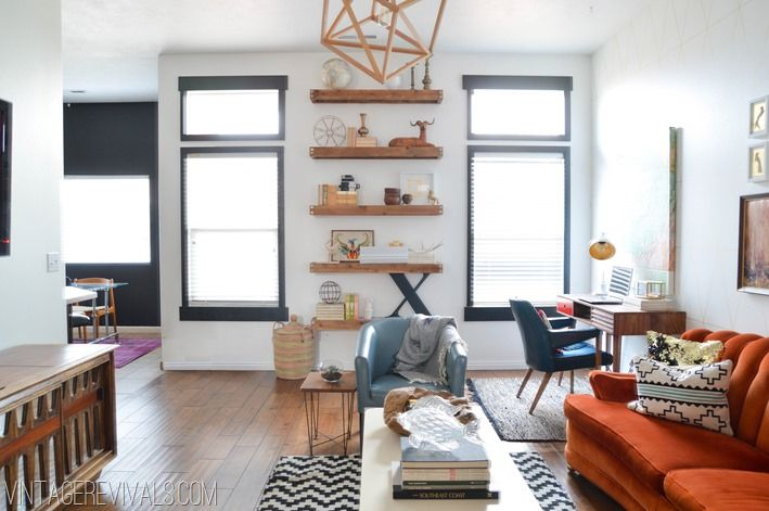 Black painted window trim-- love how this corresponds with the black wall next to this room.