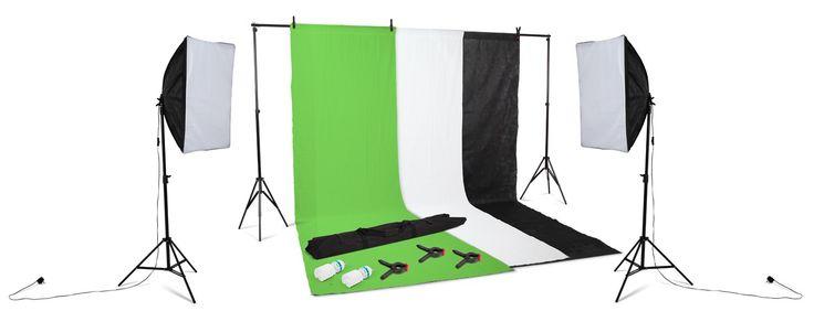 Kenley Pro Support de Fond pour Studio Photo - 2x2m Toile / 3x Tissus de Fond / Kit d'éclairage
