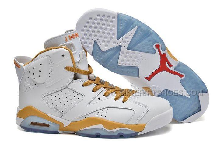 Air Jordan 6 Retro \u201cGold Medal\u201d White Gold Cheap