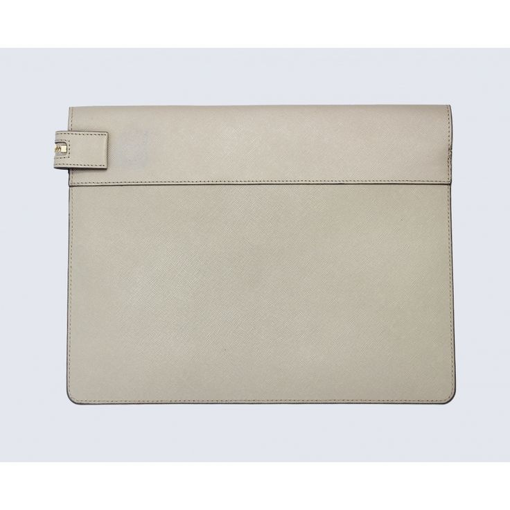 Large taupe leather clutch - Accessories