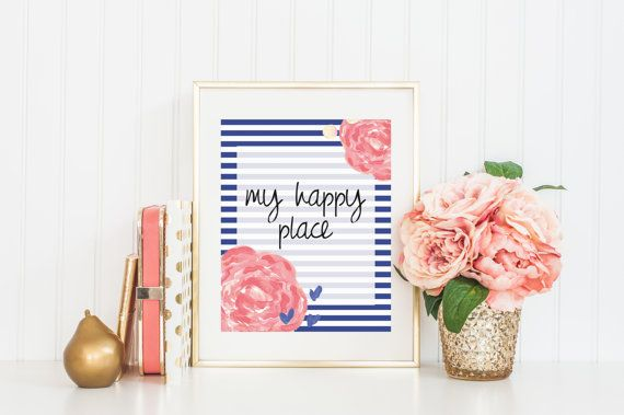 8x10 My Happy Place  Flowers Instant Download by FloraAndFont