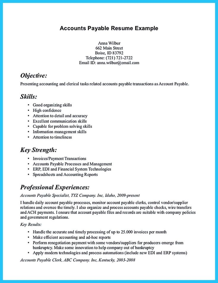 19 best Resume tips images on Pinterest Resume skills, Resume - accounts payable specialist sample resume
