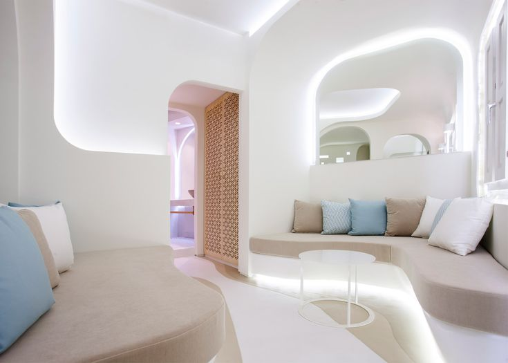 KLab decks out Santorini hotel in smooth curves