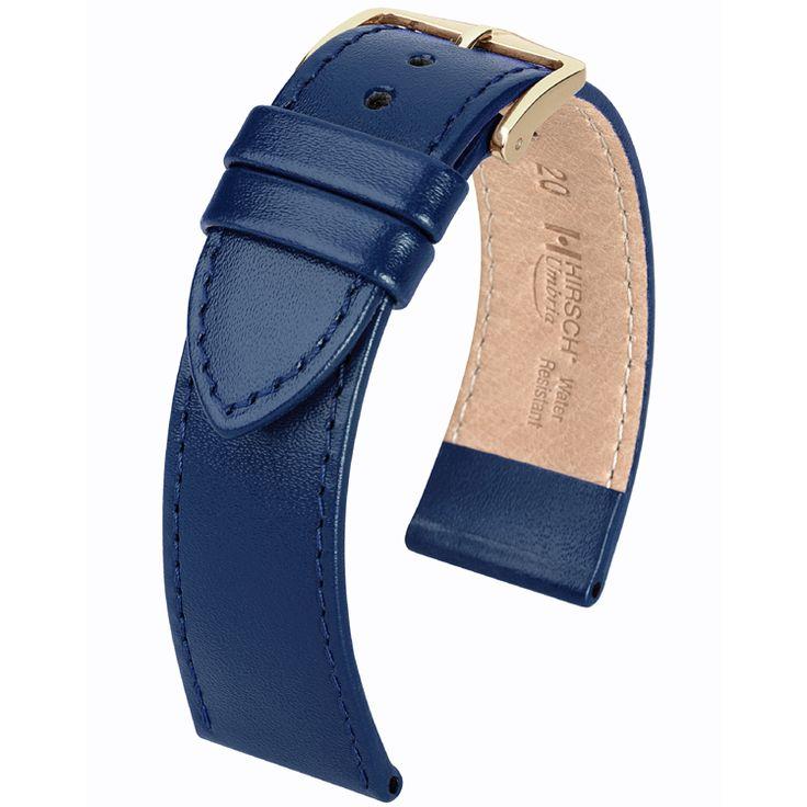 Hirsch Umbria Horlogebandje Italiaans Kalfsleer Blauw