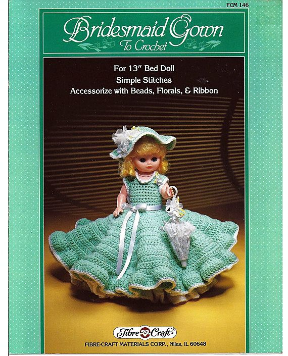 Bridesmaid Gown  Bed Doll Crochet Pattern by grammysyarngarden