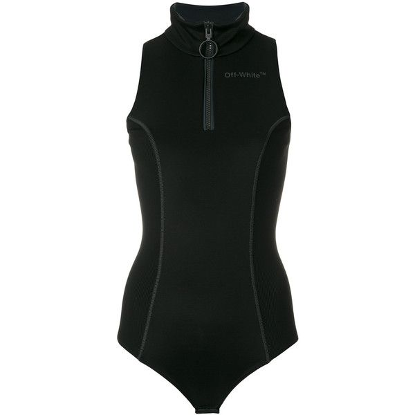 Off-White Roll Neck Bodysuit ($578) ❤ liked on Polyvore featuring intimates, shapewear and black