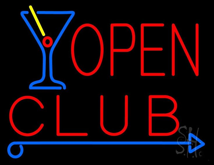 Club With Martini Glass Open Neon Sign 24 Tall x 31 Wide x 3 Deep, is 100% Handcrafted with Real Glass Tube Neon Sign. !!! Made in USA !!!  Colors on the sign are Red, Yellow and Blue. Club With Martini Glass Open Neon Sign is high impact, eye catching, real glass tube neon sign. This characteristic glow can attract customers like nothing else, virtually burning your identity into the minds of potential and future customers.