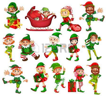 Elfos: Duendes de Navidad en diferentes posiciones.