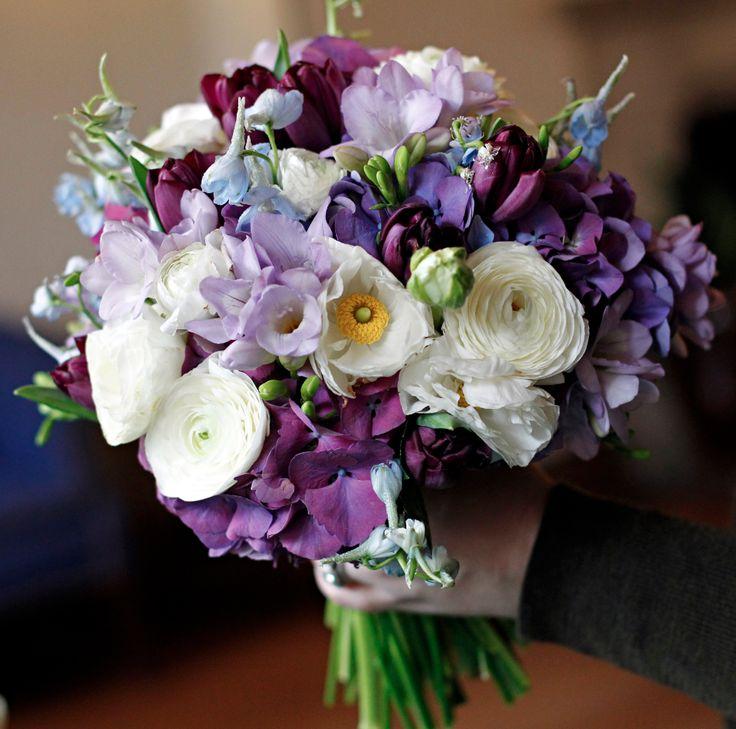 Wedding Bouquets Blue And Purple Ranunculus Hydrangea Delphinium Freesia Bridal