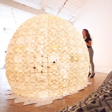 "Saltygloo by Emerging Objects ""The structure is an experiment in 3D printing using locally harvested salt from the San Francisco Bay to produce a large-scale, lightweight, additive manufactured structures,"""
