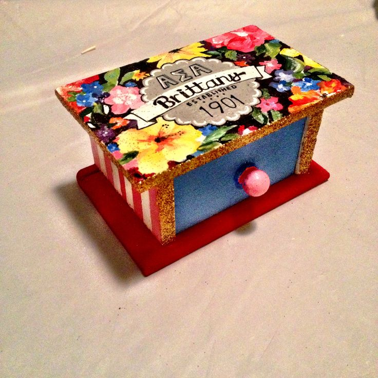 Sorority pin box #handpainted #custom
