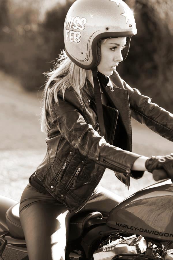 Beautiful Helmet, Gorgeous Women & Harley Davidson Motorcycle.