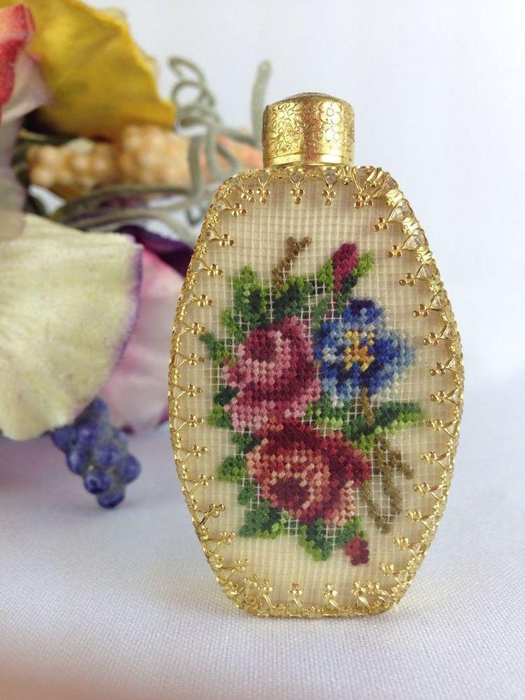 Vtg Austrian Roses Petit Point Filigree Glass Perfume Bottle & Dauber #perfumebottle #vintagevanity