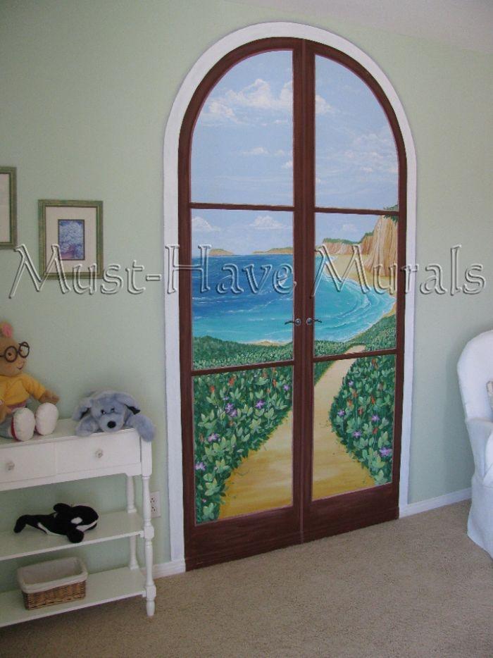 Faux door to beach scene mural idea master bedroom closet for Scene bedroom designs