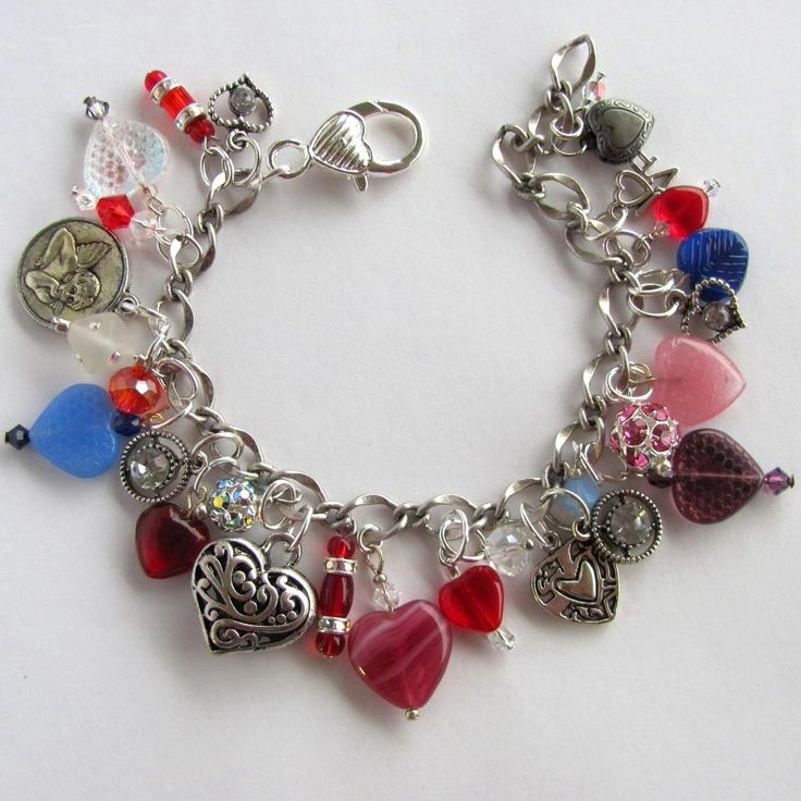 Heart Charm Bracelet with Hearts of Many Colors – Swarovski Crystals - Rhinestones