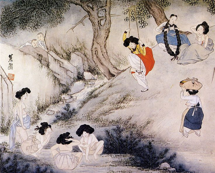 """A scene on Dano day"" (translit. title:Dano pungjeong) from Hyewon pungsokdo held by Gansong Art Museum in Seoul, South Korea. presumed after 1805"