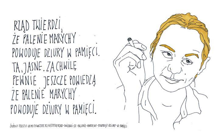 #rząd #twierdzi że #palenie #marychy #powoduje #dziury w #pamięci #nieładnie #ilustracja #kamila #szcześniak