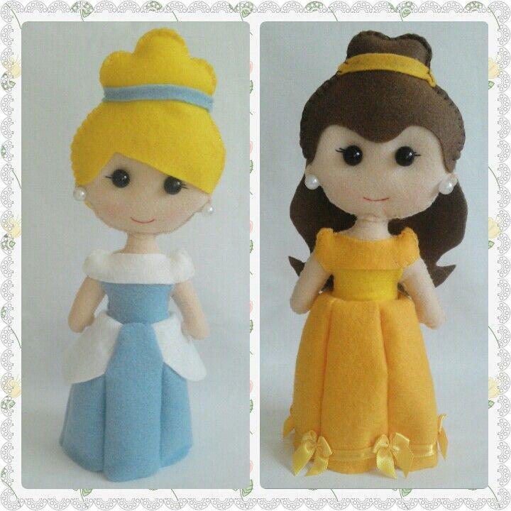 #bonecas #princesas #disney #Cinderela #Bela #feltro