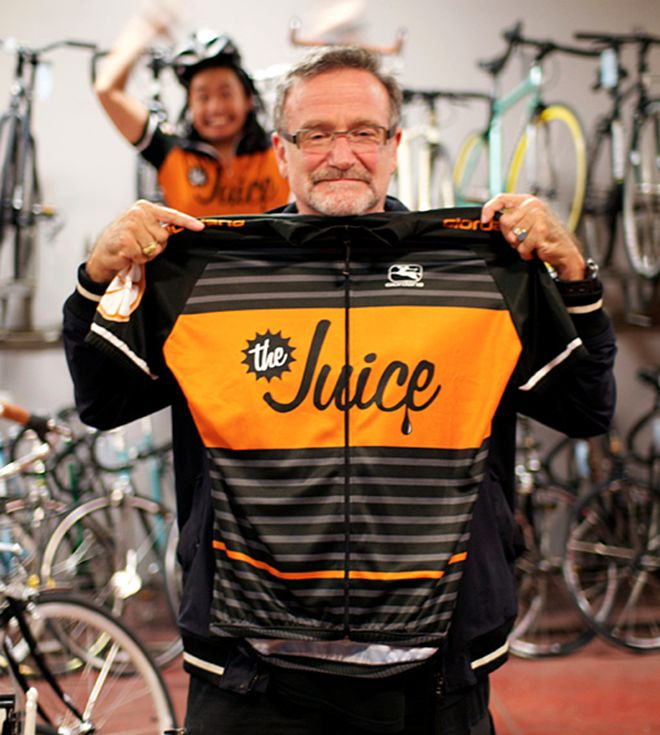 Nice cycling jersey held by Robin Williams.