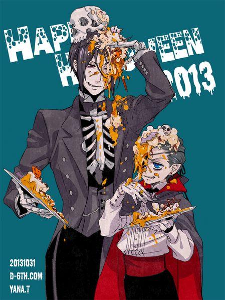 2013 Happy Halloween  by Yana Tobose 「強欲なお前には、お菓子も悪戯もおみまいしてやる」   というわけで、毎年恒例「寝るまでがハロウィン」です。 本日は無礼講なので、執事も主人も遠慮しない感じで。 シエルのケーキの減り具合がミソです。   皆さんよいハロウィンを………(◜▿‾ ≡‾▿◝)