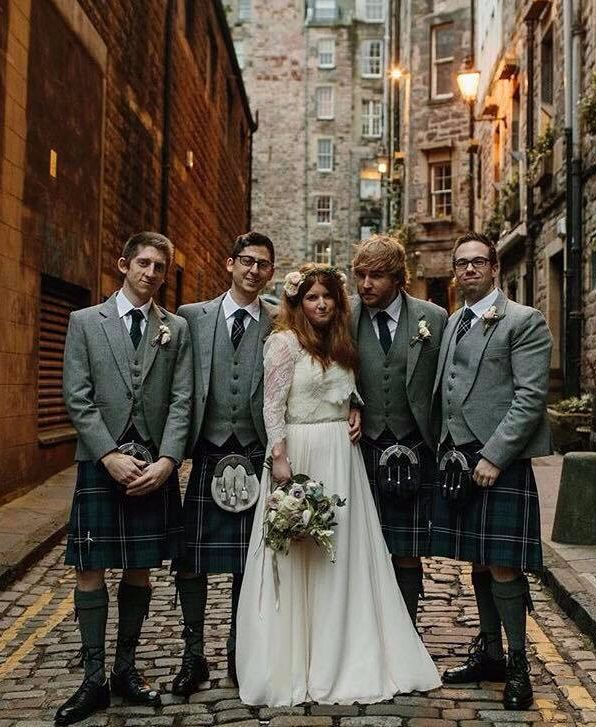Steve and Kate were married in Marlin's Wynd in Edinburgh. Steven and his groomsmen all wore our Blue Ramsay tartan kilt outfits with our exclusive Lomond Tweed jacket and waistcoat.