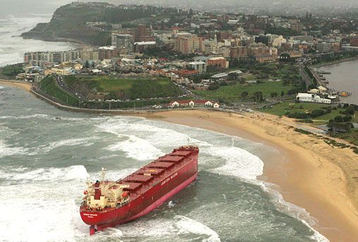 Pasha Bulker washed up on Nobbys Beach during the 2007 floods. (Source: The Daily Telegraph)