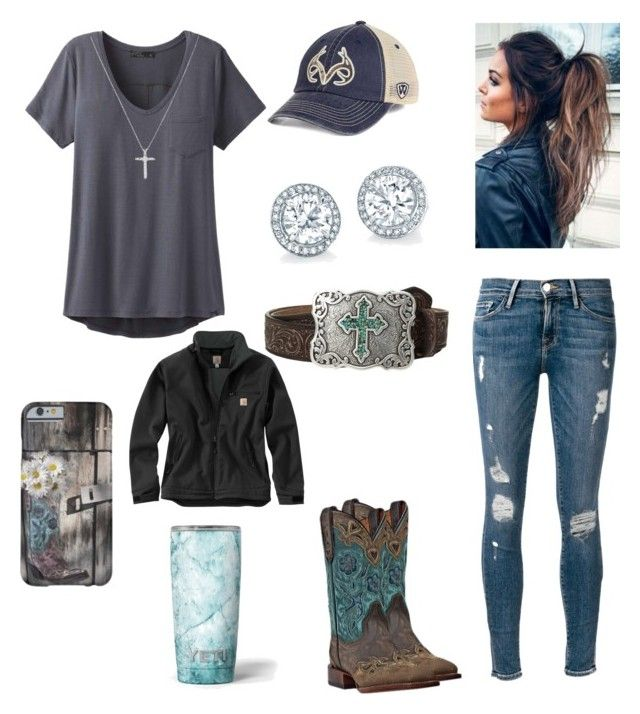 """Blue Skies and Blue Eyes"" by babyinblue on Polyvore featuring M&F Western, Top of the World, prAna, Carhartt, Frame and Dan Post"