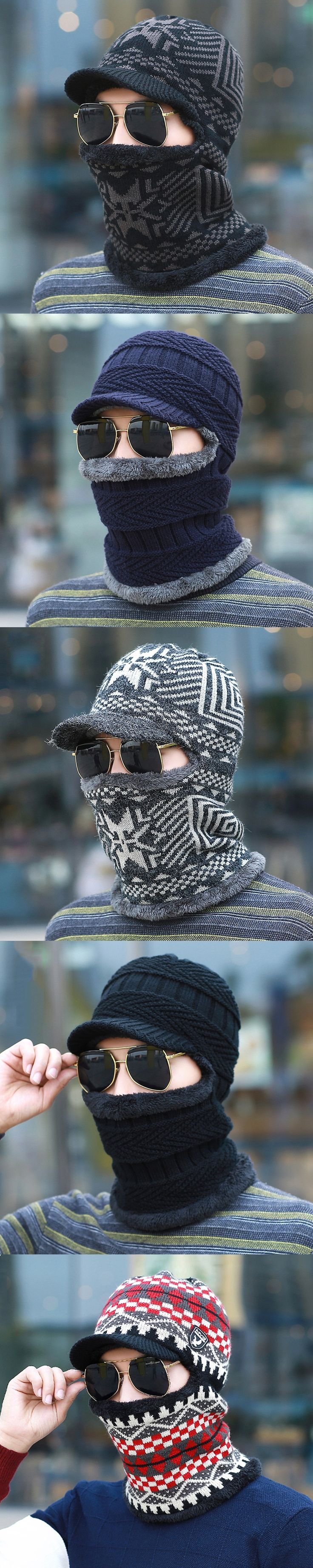 BKONE New Balaclava Winter Men's Skullies Wool Knitted Balaclava Cap Ninja Mask Thermal Plush Pocket Hat Snow Cap
