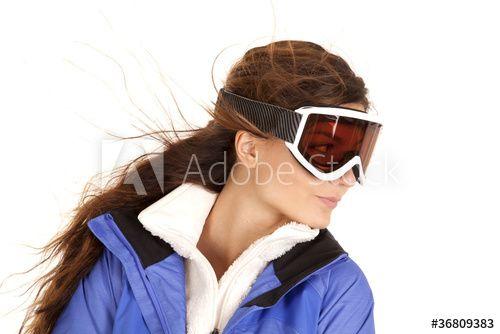 woman ski goggles look side