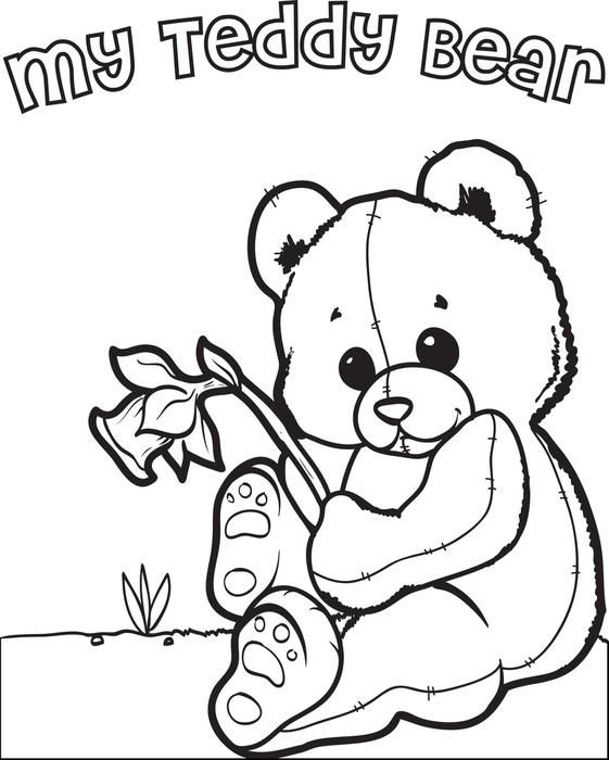 Free, Printable Valentine's Day Teddy Bear Coloring Page for Kids