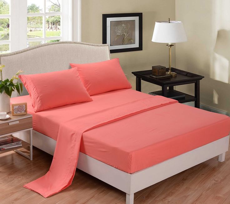 Amazon.com - Honeymoon 1800T Brushed Microfiber 4PC Bedding Sheet Set, Sheet & Pillowcase Sets - Queen, Coral -