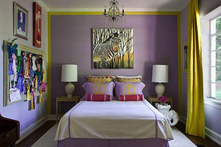 girl's rooms - purple walls purple pillows Justin Beiber gold monogram red purple bolster pillows lamps zebra art citrine yellow silk drapes bulletin board white elephant table