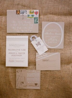 Madeline + Josh's Rustic Kraft Paper Tennessee Wedding Invitations | Design: Arboreal | Photo Credit: Kate Murphy Photography