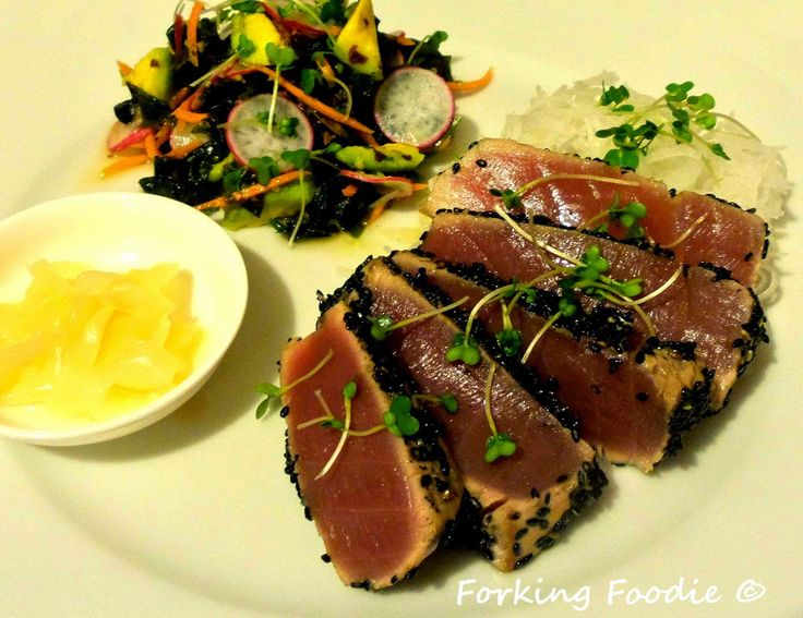Delicious AND super-healthy? Yes please! Seared fresh tuna, with a delicious soy, ginger and lime seaweed salad packed full of nutients and minerals, and crisp daikon noodles. From only 297 calories per portion.