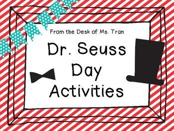 Happy Birthday, Dr. Seuss! Many teachers and students across America will be celebrating Dr. Seuss. Here are 3 ready to go activities to go along with these books: One Fish Two Fish Red Fish Blue Fish, Fox in Socks, and Green Eggs and Ham. Activity 1 One Fish Two Fish Red Fish Blue Fish is all about sorting and graphing using goldfish crackers!