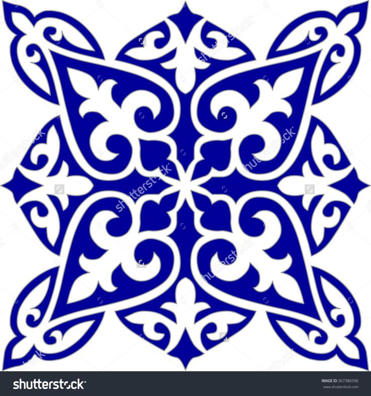 Geometric Islamic Tile Pattern Arabesque blue and white, square